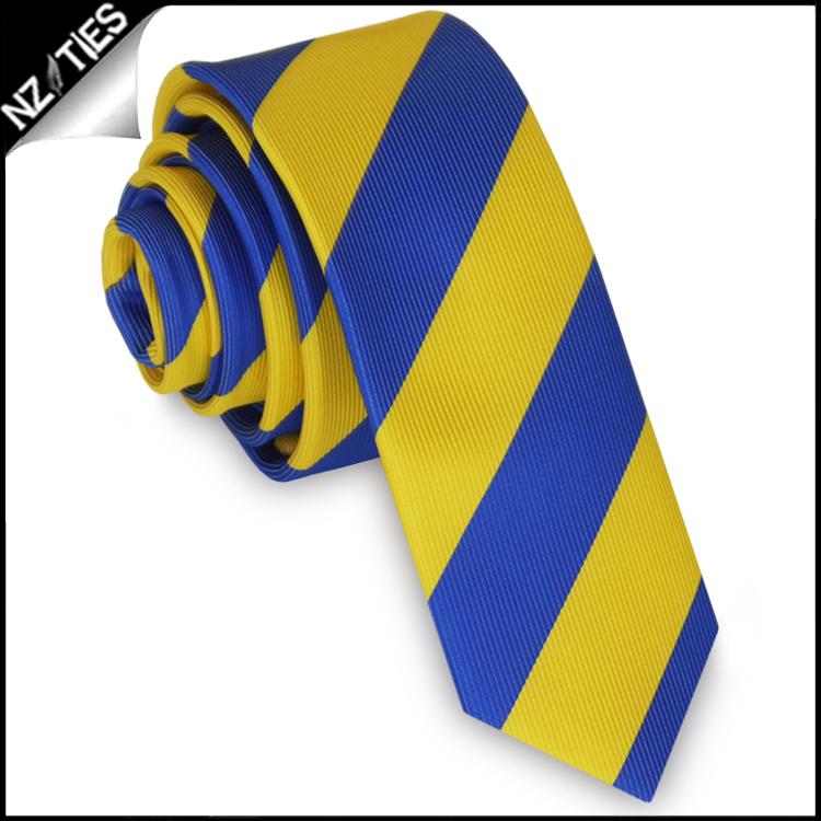 Blue & Yellow Stripes Mens Skinny Necktie