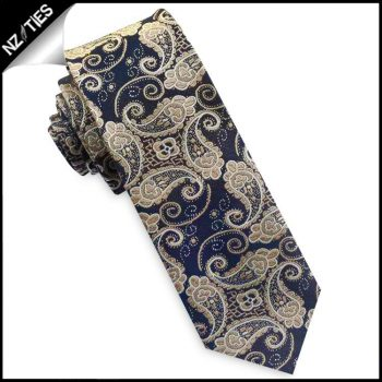 Dark Blue And Gold Paisley Mens Skinny Necktie