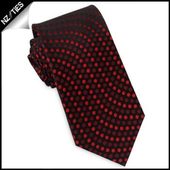Black With Red Polkadot Swirls Slim Tie