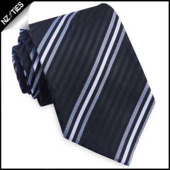 Black, White & Grey Narrow Stripes Mens Tie