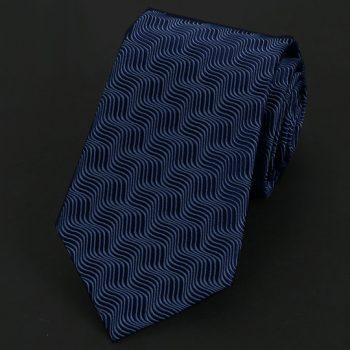 Dark Blue Waves Pattern Silk Tie
