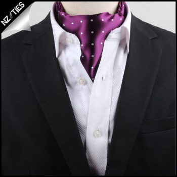 Men's Purple With White Polka Dots Ascot Cravat