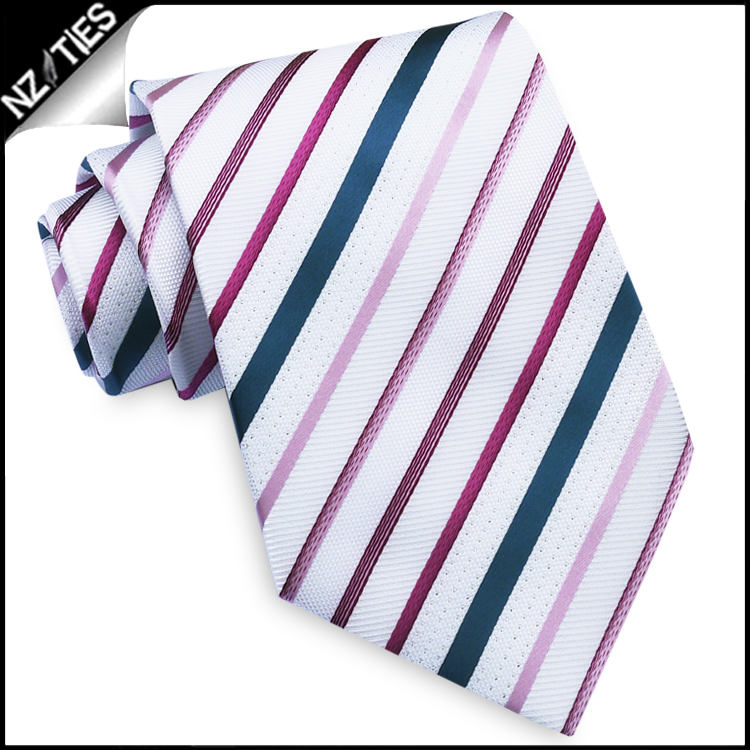 White with Purple, Pink & Blue Stripes Mens Tie