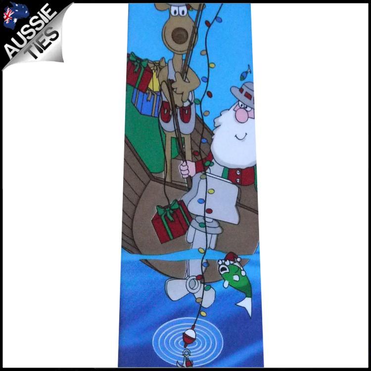 Light Blue Santa Fishing Christmas Tie 2
