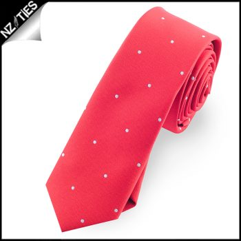Cherry Red Pin Dot Mens Skinny Necktie