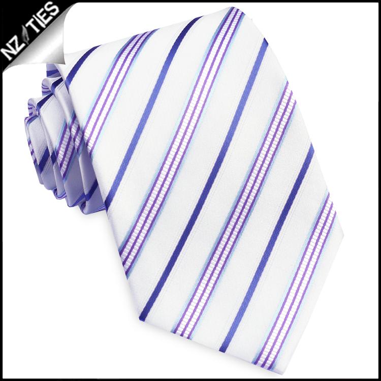 Ivory with Blue, Violet, Indigo & White Stripes Mens Necktie