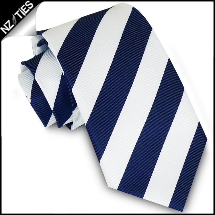 Navy Blue & White Stripes Boys Sports Necktie