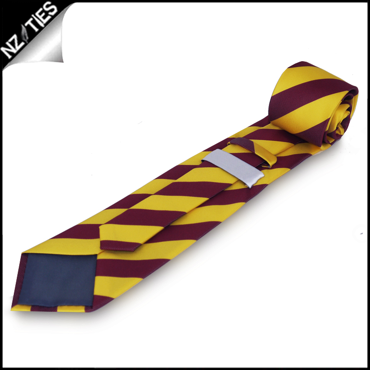 Yellow and Maroon Stripes Mens Sports Necktie 2