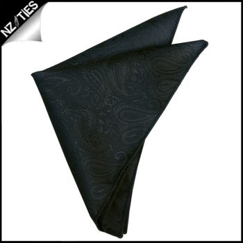 Black Paisley Pocket Square