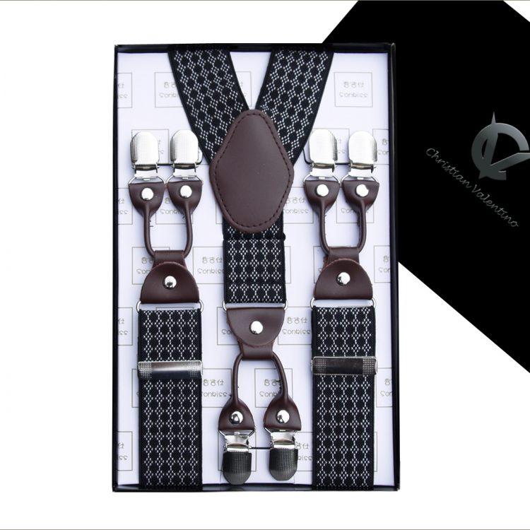 Black with White Diamonds Leather Attachment Braces