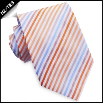 White With Orange, Coral & Lavender Stripes Mens Tie