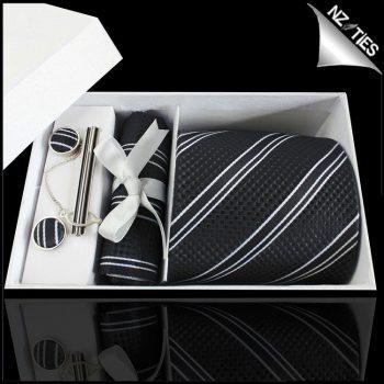 Textured Black With Black & White Stripes Tie Set