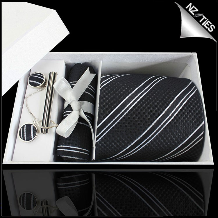 Textured Black with Black & White Stripes Tie Set