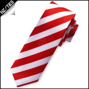 Red & White Mens Skinny Tie