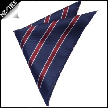 Midnight Blue Scarlet And White Stripes Pocket Square