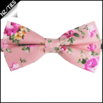 Pink With Floral Pattern Bow Tie