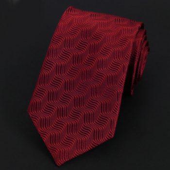 Dark Red Waves Pattern Silk Tie