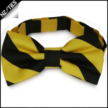 Yellow & Black Stripes Mens Bow Tie