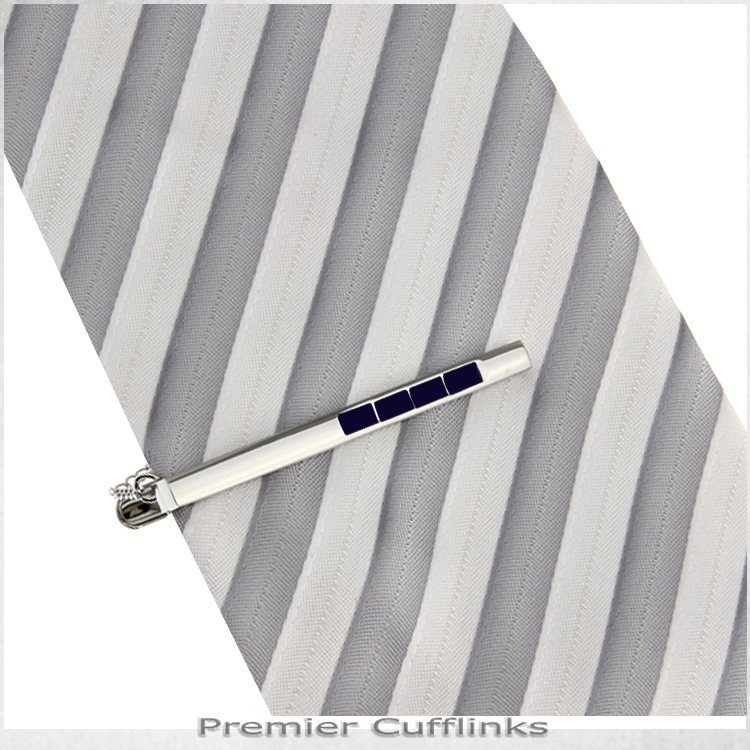 Silver with Sapphire Inset Tie Clip 2