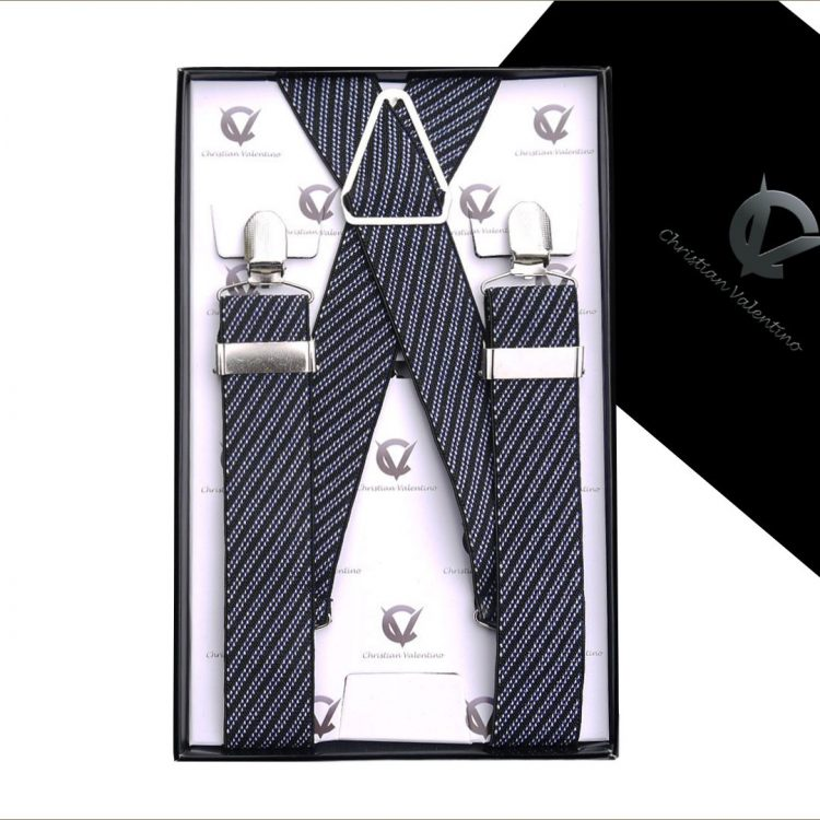Black, White & Blue Diagonal Stripes 3.5X XL Braces