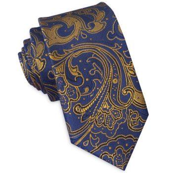 Blue & Gold Paisley Mens Slim Tie