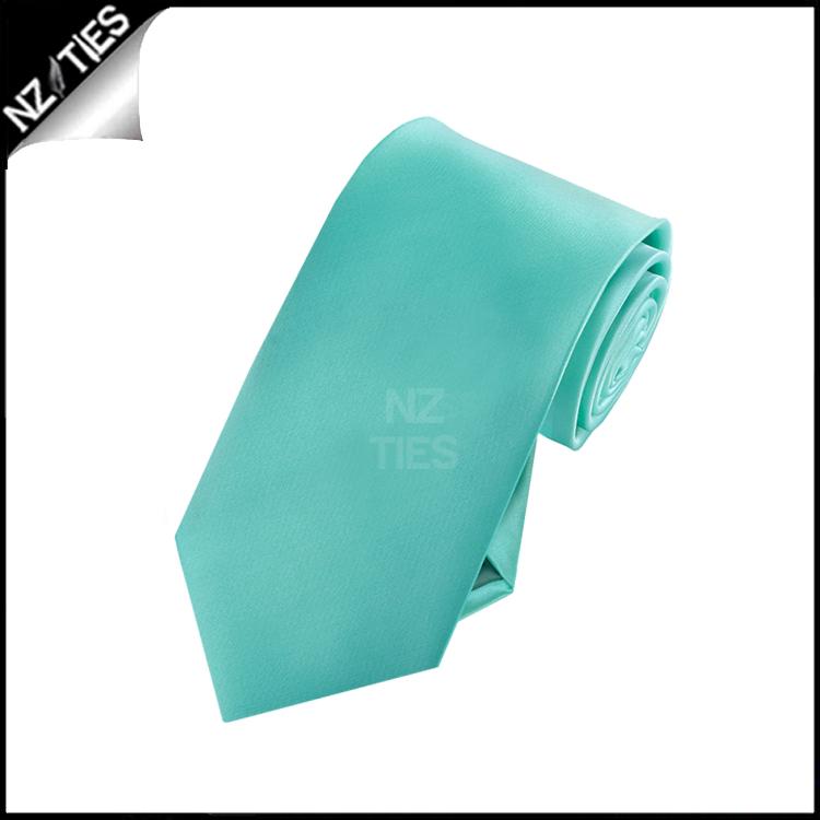 Boys Sea Mist Turquoise Green Plain Necktie
