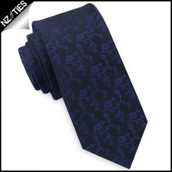 Black With Navy Blue Floral Pattern Mens Skinny Tie