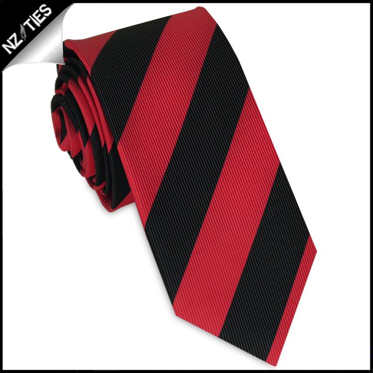 Mens Red & Black Stripes Skinny Tie