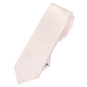 Mens Nude Pink Plain Skinny Necktie