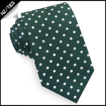 Dark Green Polka Dot Mens Tie