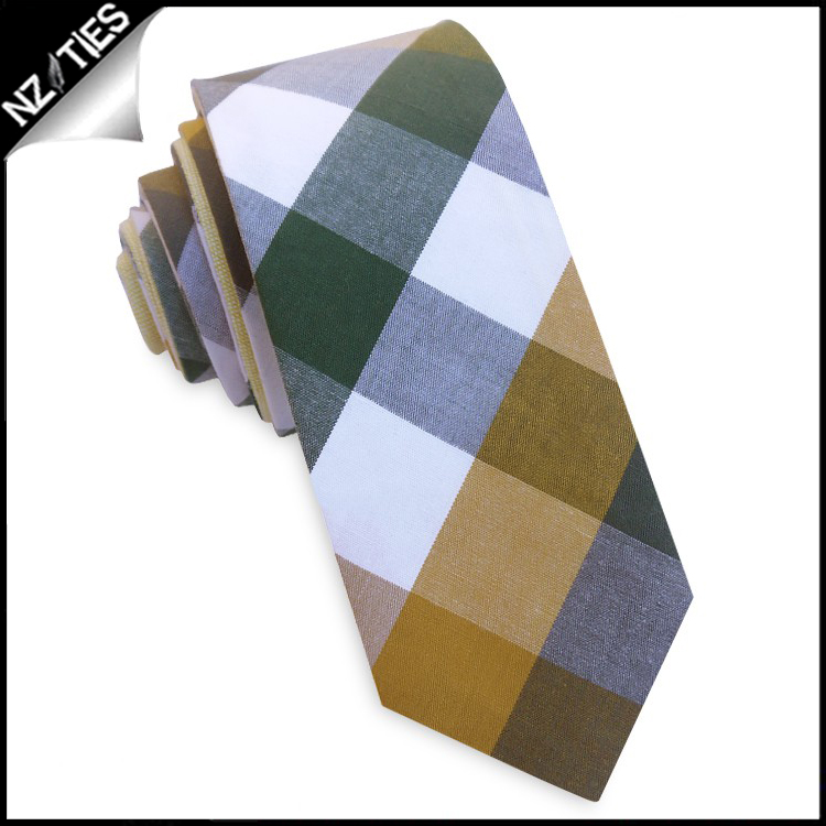Mustard, Grey, Green & White Diamonds Skinny Tie