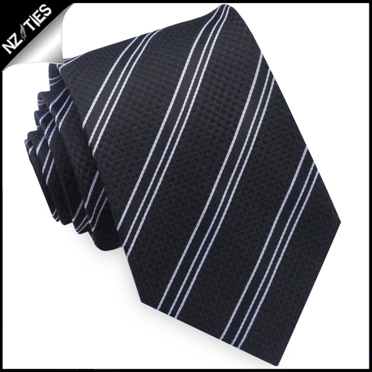 Textured Black with Black & White Stripes Tie Set 2