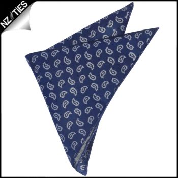 Navy Blue With White Paisley Teardrops Pocket Square