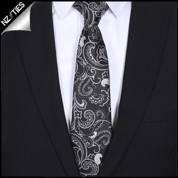 Black With White Floral Pattern Mens Tie