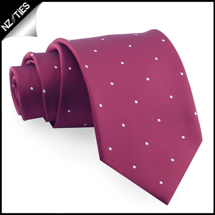 Burgundy Pin Dot Mens Tie