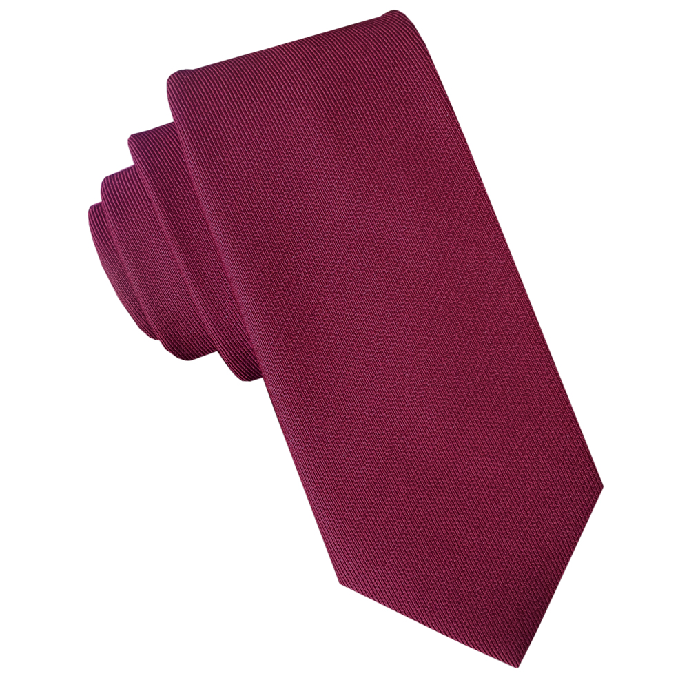 Burgundy Red Cotton Blend Skinny Tie