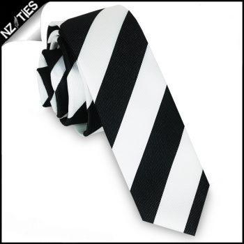 Black & White Stripes Mens Skinny Necktie