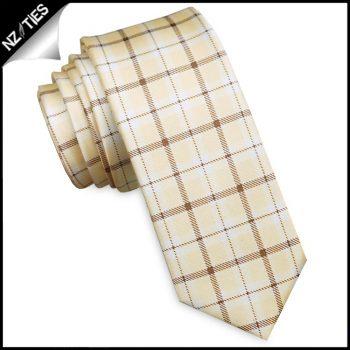 Light Yellow Gingham Check Mens Skinny Necktie