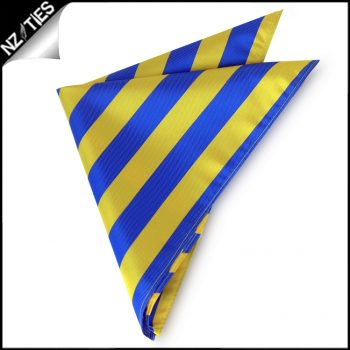 Blue & Yellow Striped Pocket Square Handkerchief