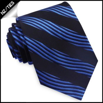 Blue And Black Waves Mens Necktie