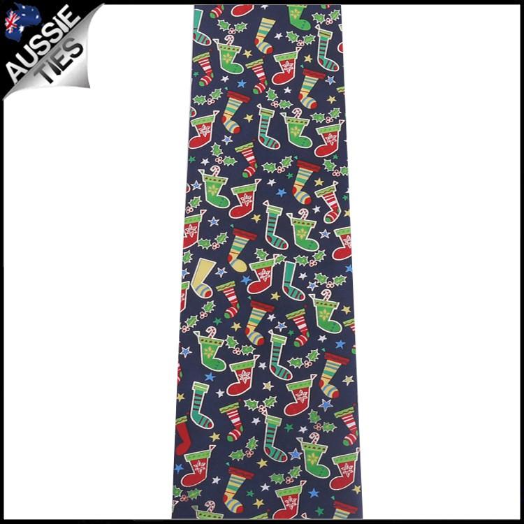 Dark Blue with Christmas Stockings Tie 2