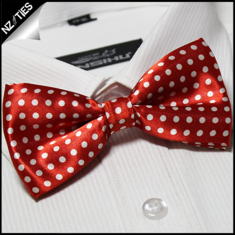 Bright Red with White Polka Dots Bow Tie