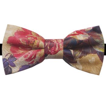 Tan With Pastel Florals Bicast Leather Bow Tie