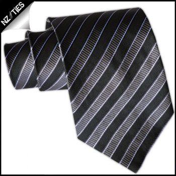 Black, Grey & Silver Stripes Mens Necktie