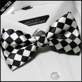 Boys Black & White Harlequin Bow Tie