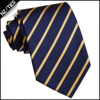 Dark Blue With Gold Thin Stripes Mens Necktie