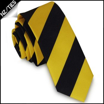 Yellow & Black Stripes Mens Skinny Necktie