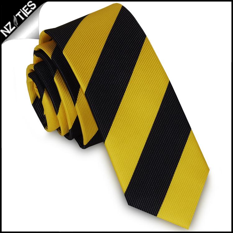 Yellow & Black Stripes Mens Skinny Necktie