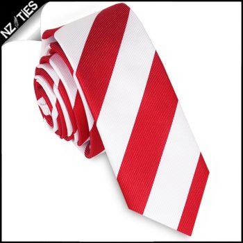 Red & White Stripes Mens Skinny Necktie