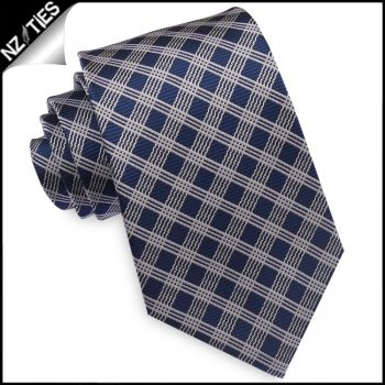 Midnight Blue With Silver Crosshatch Mens Necktie